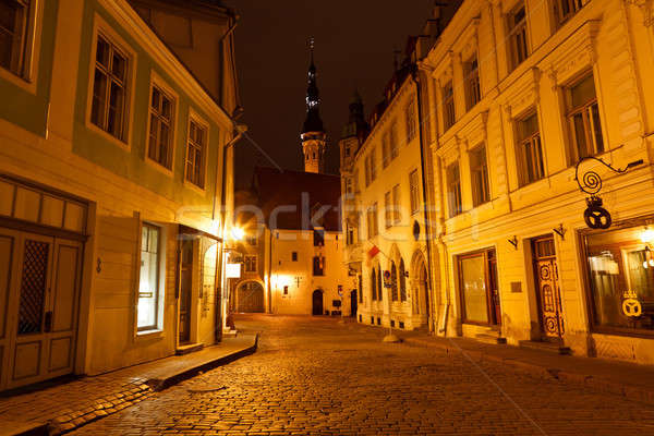 Night Street in the Old Town of Tallinn, Estonia Stock photo © anshar
