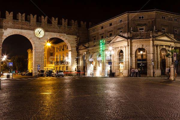 Medieval pared sujetador verona noche edificio Foto stock © anshar