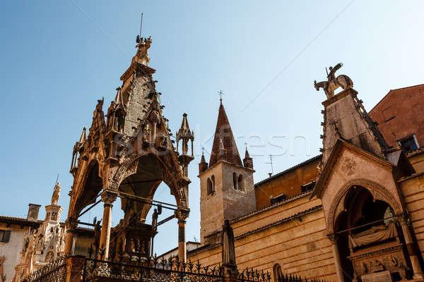 Famoso gótico verona ciudad azul arquitectura Foto stock © anshar