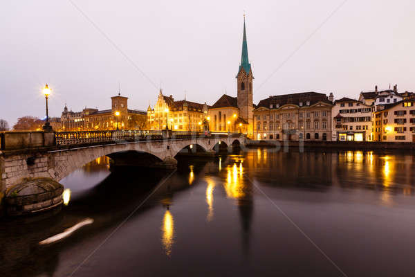 View of Zurich and Old City Center Reflecting in the river Limma Stock photo © anshar