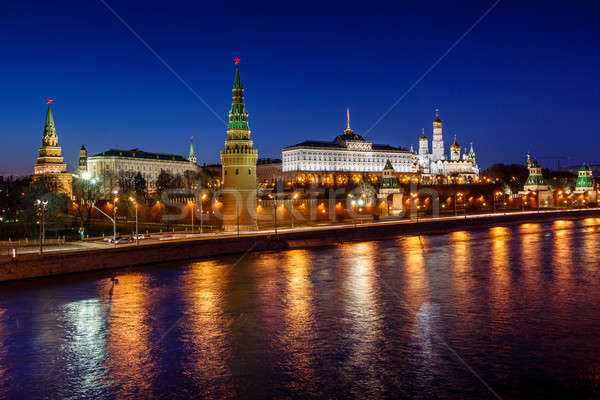 Photo stock: Moscou · Kremlin · tour · nuit · Russie · bâtiment