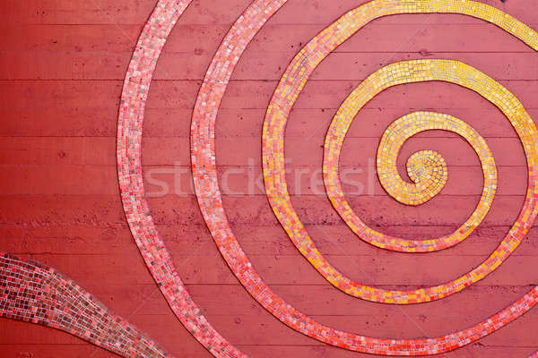 Mosaïque spirale rouge bois mur design Photo stock © anshar