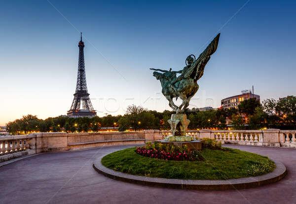 France Reborn Statue on Bir-Hakeim Bridge and Eiffel Tower at Da Stock photo © anshar