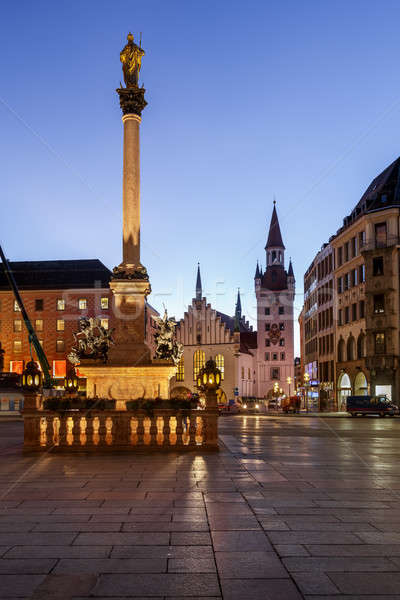 Old Town Hall and Marienplatz in the Morning, Munich, Bavaria, G Stock photo © anshar