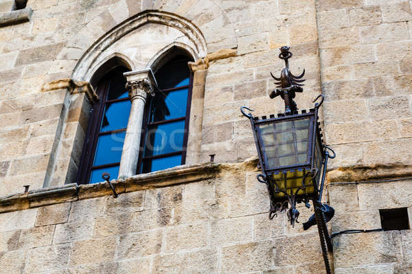 Ancient Streetlight in Priori Square at Volterra  in Tuscany, It Stock photo © anshar
