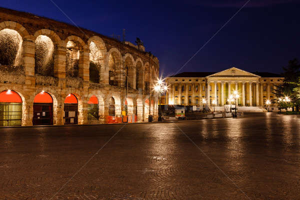 Illuminated Piazza Bra and Ancient Amphitheater in Verona, Venet Stock photo © anshar