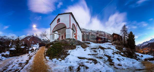 ストックフォト: 白 · 教会 · 丘 · ピーク · 夜明け · 建物