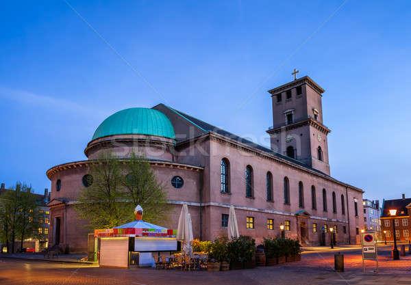 Kilise bayan Kopenhag akşam karanlığı Danimarka Bina Stok fotoğraf © anshar
