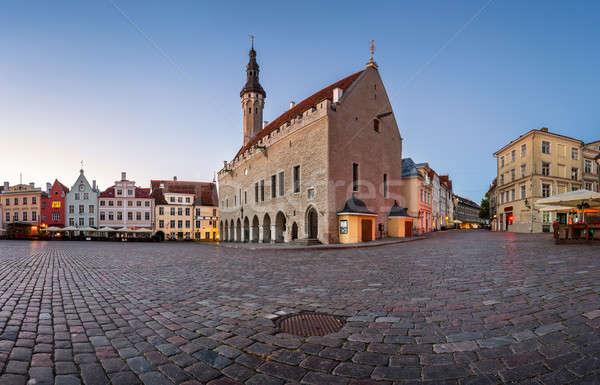 Tallinn Town Hall and Raekoja Square in the Morning, Tallinn, Es Stock photo © anshar
