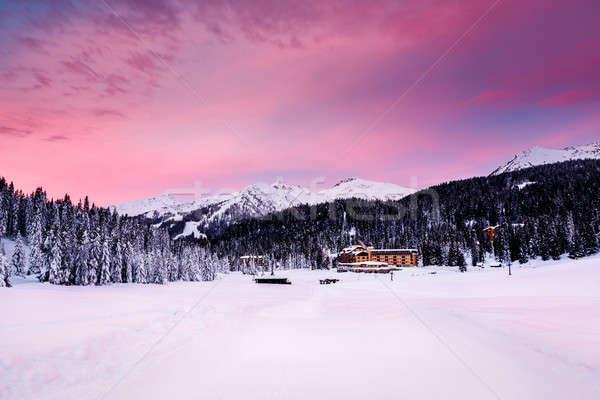 Beautiful Sunrise at Ski Resort of Madonna di Campiglio, Italian Stock photo © anshar