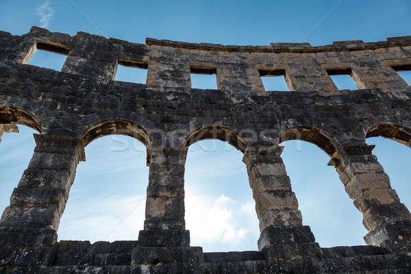 древних римской амфитеатр Хорватия небе стены Сток-фото © anshar
