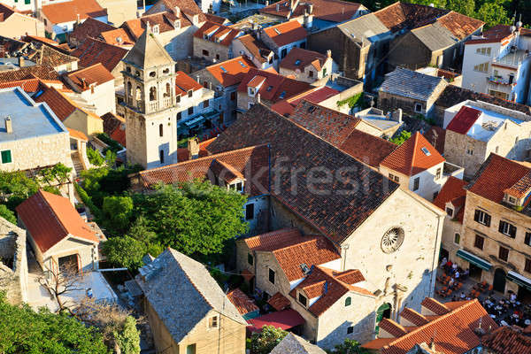 Panorama of Old Town Omis and Holy Spirit Church, Croatia Stock photo © anshar