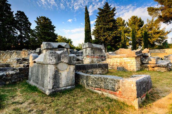 Kerk ruines oude stad Kroatië boom Stockfoto © anshar