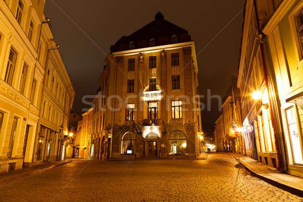 Straat oude Tallinn nacht Estland huis Stockfoto © anshar