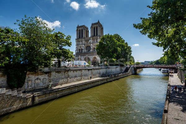 Сток-фото: реке · Париж · собора · Франция · дерево