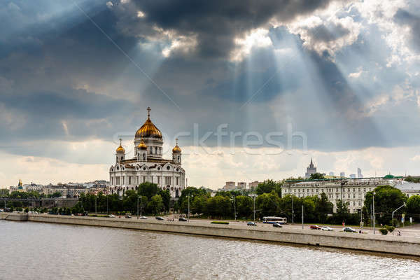 Sun Shining over Cathedral of Christ the Saviour in Moscow, Russ Stock photo © anshar