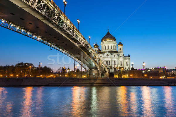 Cathedral of Christ the Saviour and Patriarshy Bridge in the Eve Stock photo © anshar