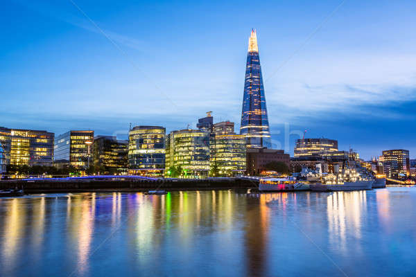 Thames River Embankment and London Skyline at Sunset, United Kin Stock photo © anshar