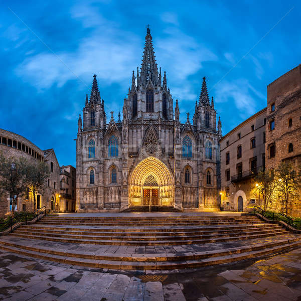 Cathedral of the Holy Cross and Saint Eulalia in the Morning, Ba Stock photo © anshar