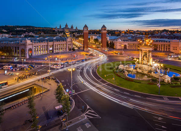 Aerial View on Placa Espanya and Montjuic Hill with National Art Stock photo © anshar