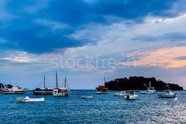 Yachts and Boats near Rovinj at Sunset, Croatia Stock photo © anshar