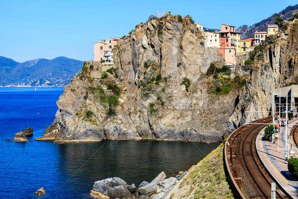 Vasútállomás falu Olaszország város tájkép hegy Stock fotó © anshar