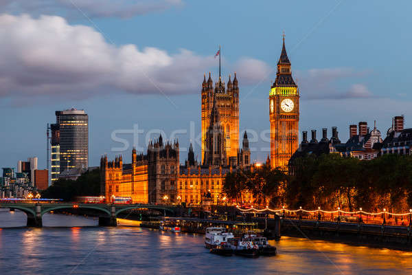 Big Ben and Westminster Bridge in the Evening, London, United Ki Stock photo © anshar