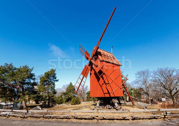 Traditional Swedish Windmill in Skansen National Park, Stockholm Stock photo © anshar