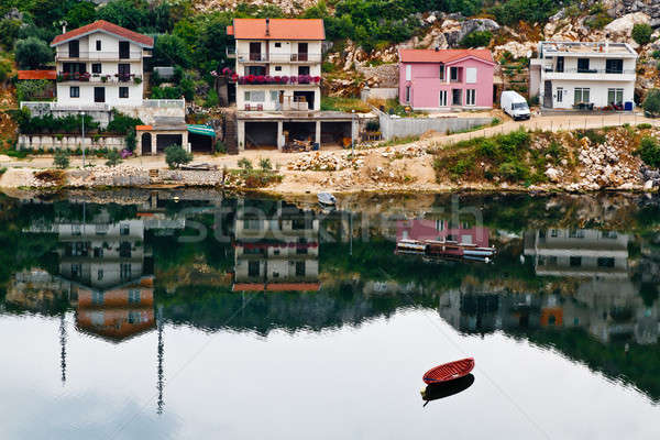 Boat and the Town Ploce in Croatia Stock photo © anshar