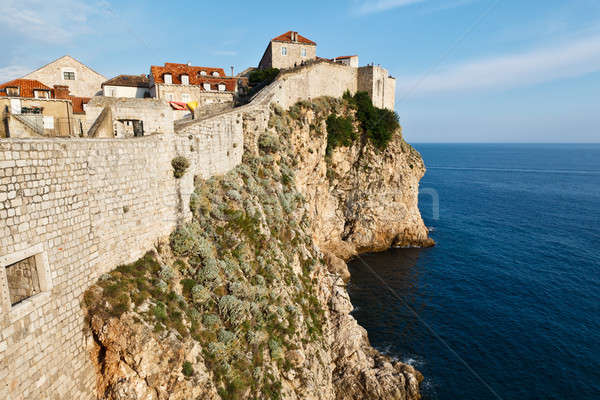 Amazing Dubrovnik Defensive Wall Built on Cliff, Croatia Stock photo © anshar