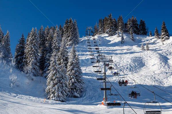 Sunny Ski Slope and Ski Lift near Megeve in French Alps, France Stock photo © anshar