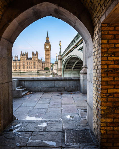 Big Ben, Queen Elizabeth Tower and Wesminster Bridge framed in A Stock photo © anshar
