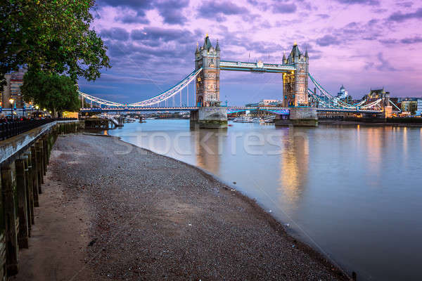 Thames Embankment and Tower Bridge at Sunset, London, United Kin Stock photo © anshar