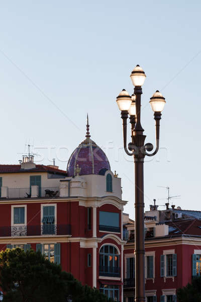 Backlit Lamppost on Massena Place in Nice, France Stock photo © anshar