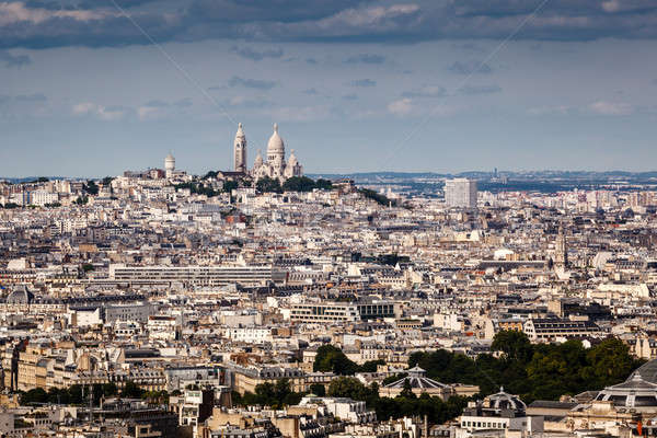 Aerial View on Montmartre Hill and Sacre-Coeur Church, Paris, Fr Stock photo © anshar