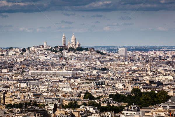 Légifelvétel Montmartre domb templom Párizs Franciaország Stock fotó © anshar