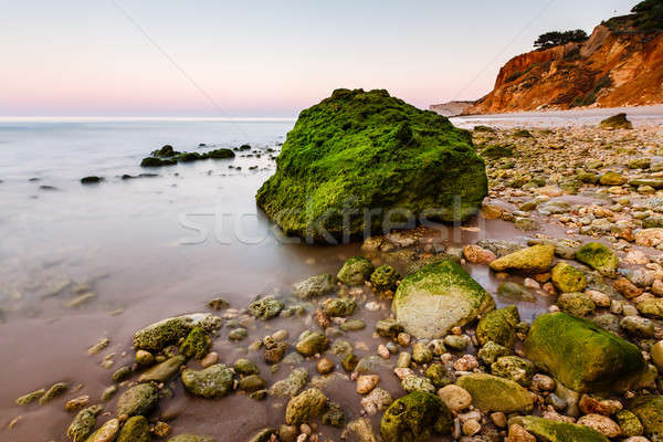 Green Stones at Porto de Mos Beach in Lagos, Algarve, Portugal Stock photo © anshar