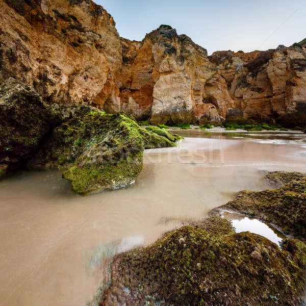 Yeşil taşlar plaj Portekiz yaz mavi Stok fotoğraf © anshar