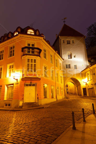 Notte strada città vecchia Tallinn Estonia città Foto d'archivio © anshar