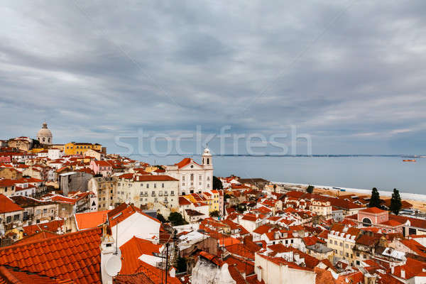 Aerial View on Alfama District of Lisbon, Portugal Stock photo © anshar