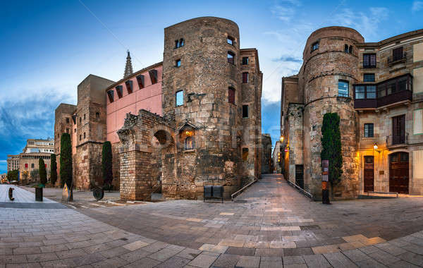 Panorama of Wall and Gate of Roman City Barcino and Placa Nova i Stock photo © anshar