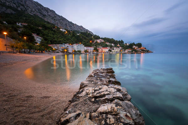 Beautiful Adriatic Beach and Mimice Village on Omis Riviera in t Stock photo © anshar