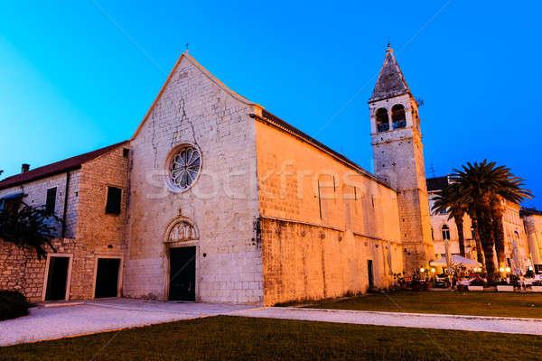 Illuminated Church of Saint Dominic in Trogir at Night, Croatia Stock photo © anshar