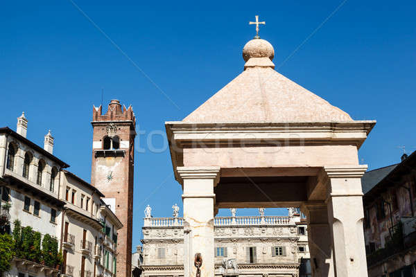 Monument on Piazza delle Erbe in Verona, Veneto, Italy Stock photo © anshar