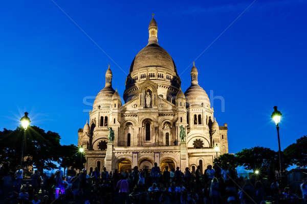 Katedrális Montmartre domb alkonyat Párizs Franciaország Stock fotó © anshar