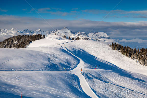 Skiing and Snowboarding in French Alps, Megeve Stock photo © anshar