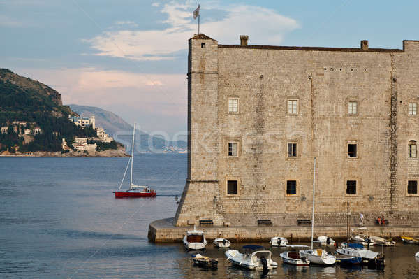 Yacht Sailing behind Fort of Saint John in Dubrovnik, Croatia Stock photo © anshar