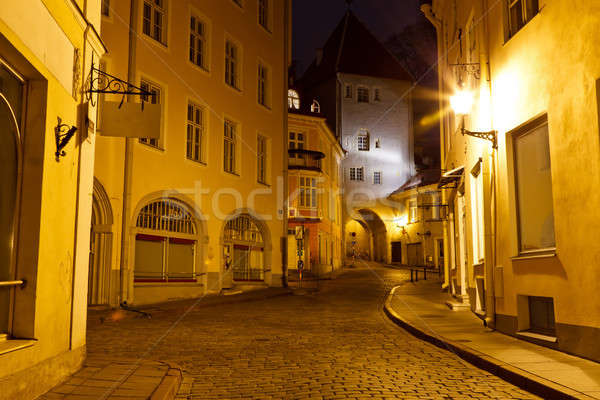 Nacht straat oude binnenstad Tallinn Estland stad Stockfoto © anshar