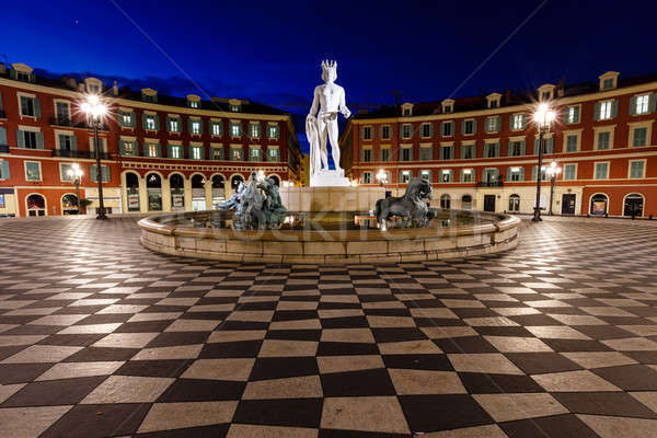 The Fontaine du Soleil on Place Massena in the Morning, Nice, Fr Stock photo © anshar