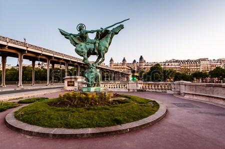 France Reborn Statue on Bir-Hakeim Bridge at Dawn, Paris, France Stock photo © anshar